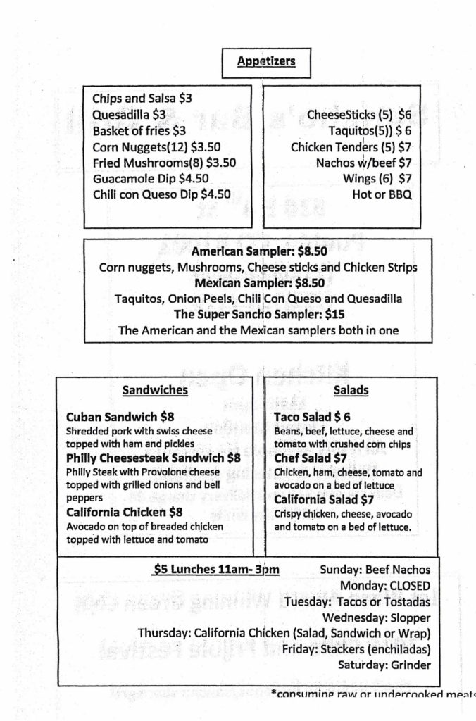 slopper sanchos bar grill menu