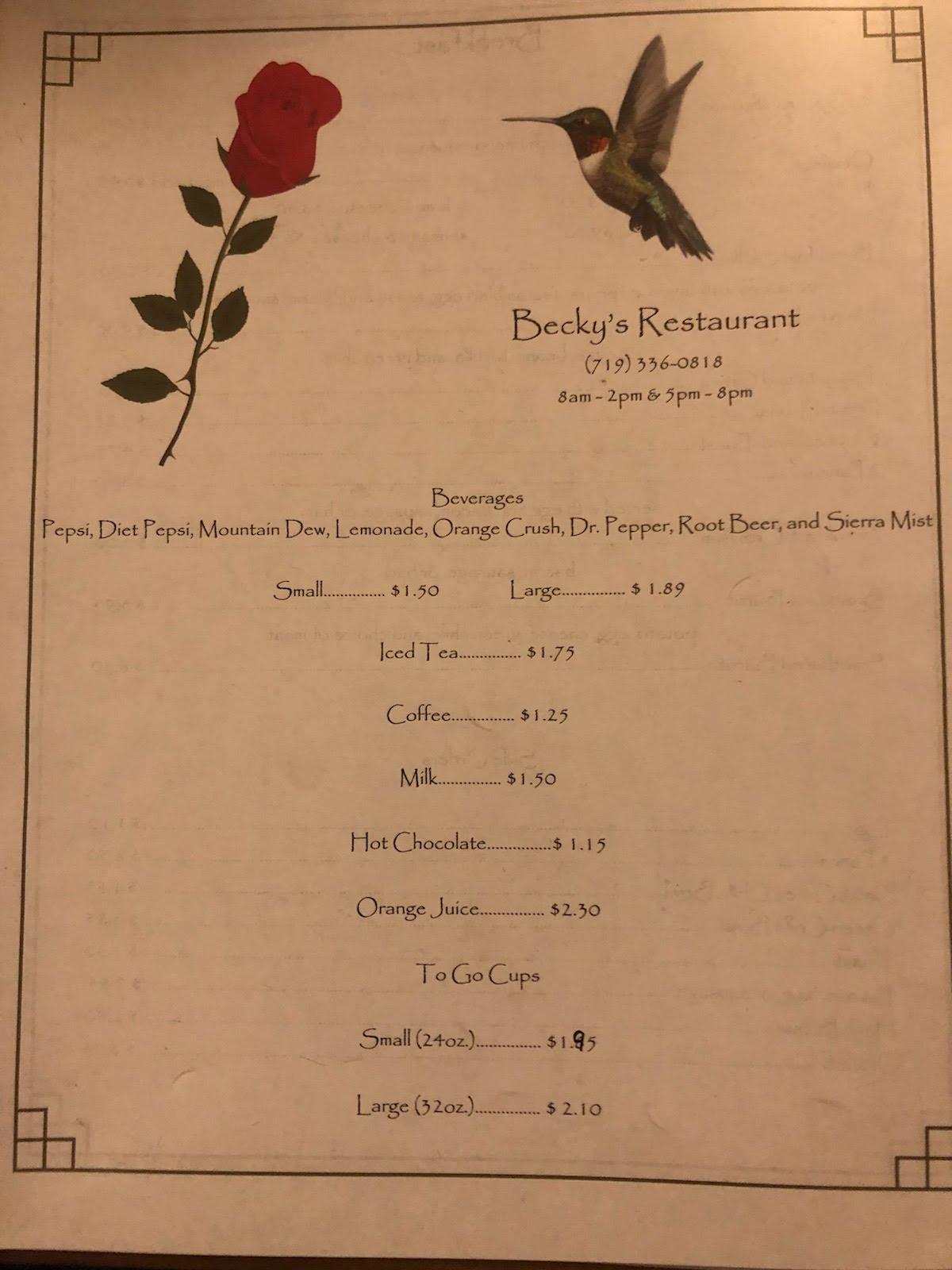 Becky S Cafe Menu