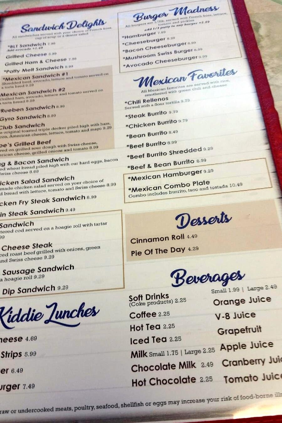joe's cafe – wheat ridge – menu – colorado menu